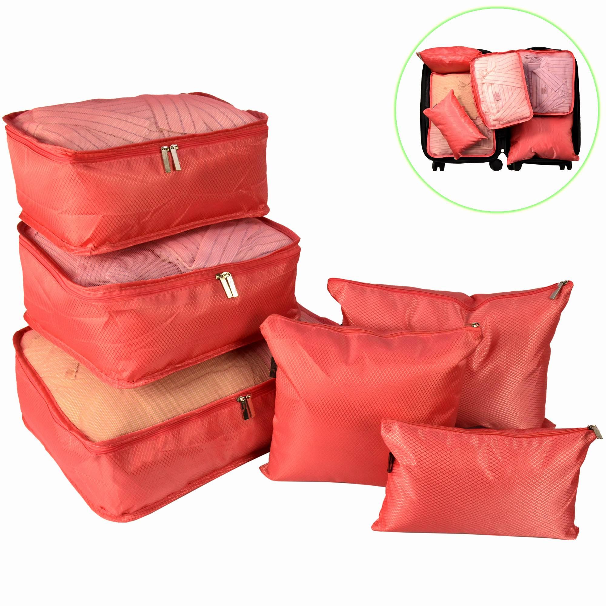Organizador de Mala Viagem Necessaire Kit 6 Peças Rosa CBRN12763