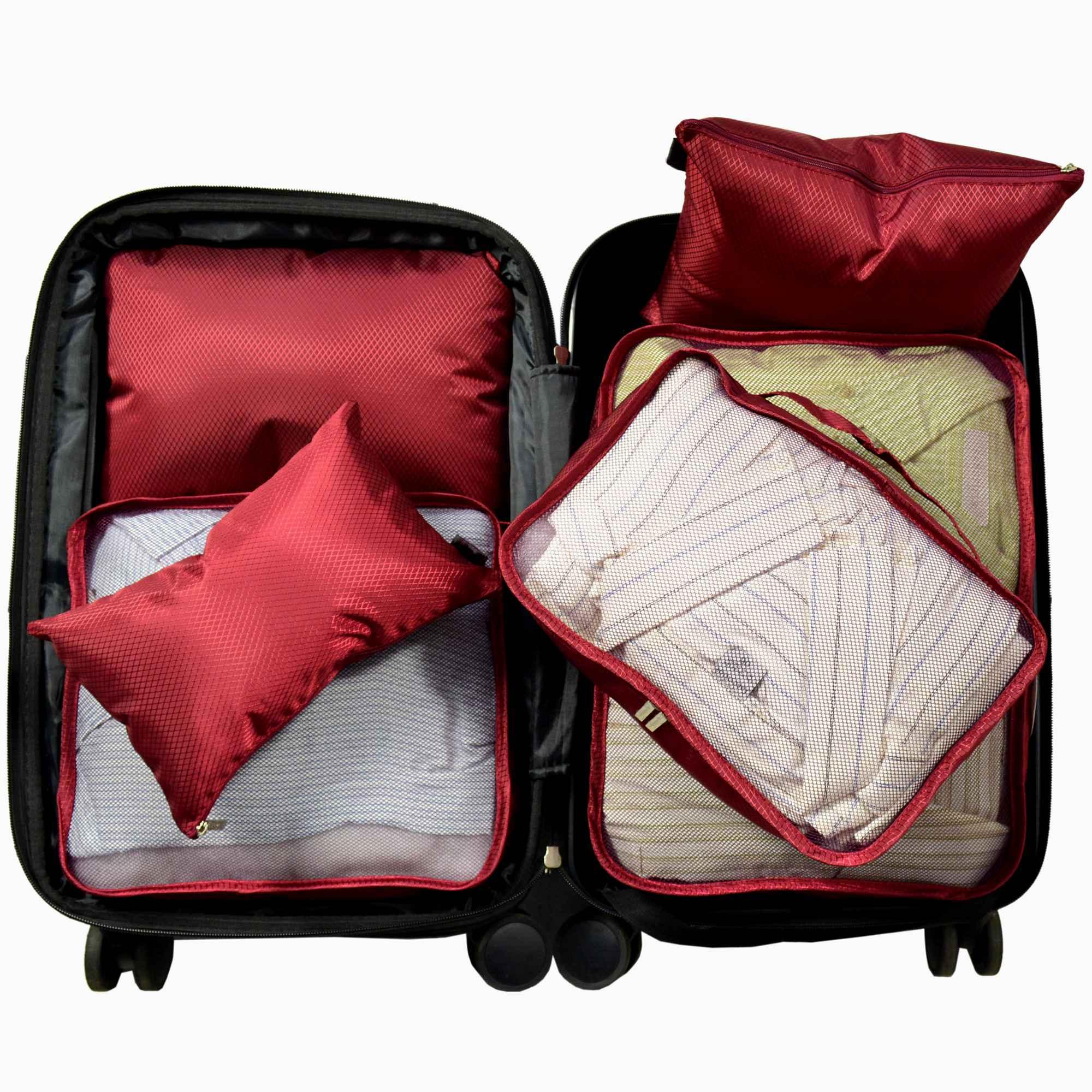 Organizador de Mala Viagem Necessaire Kit 6 Peças Vermelho CBRN12770