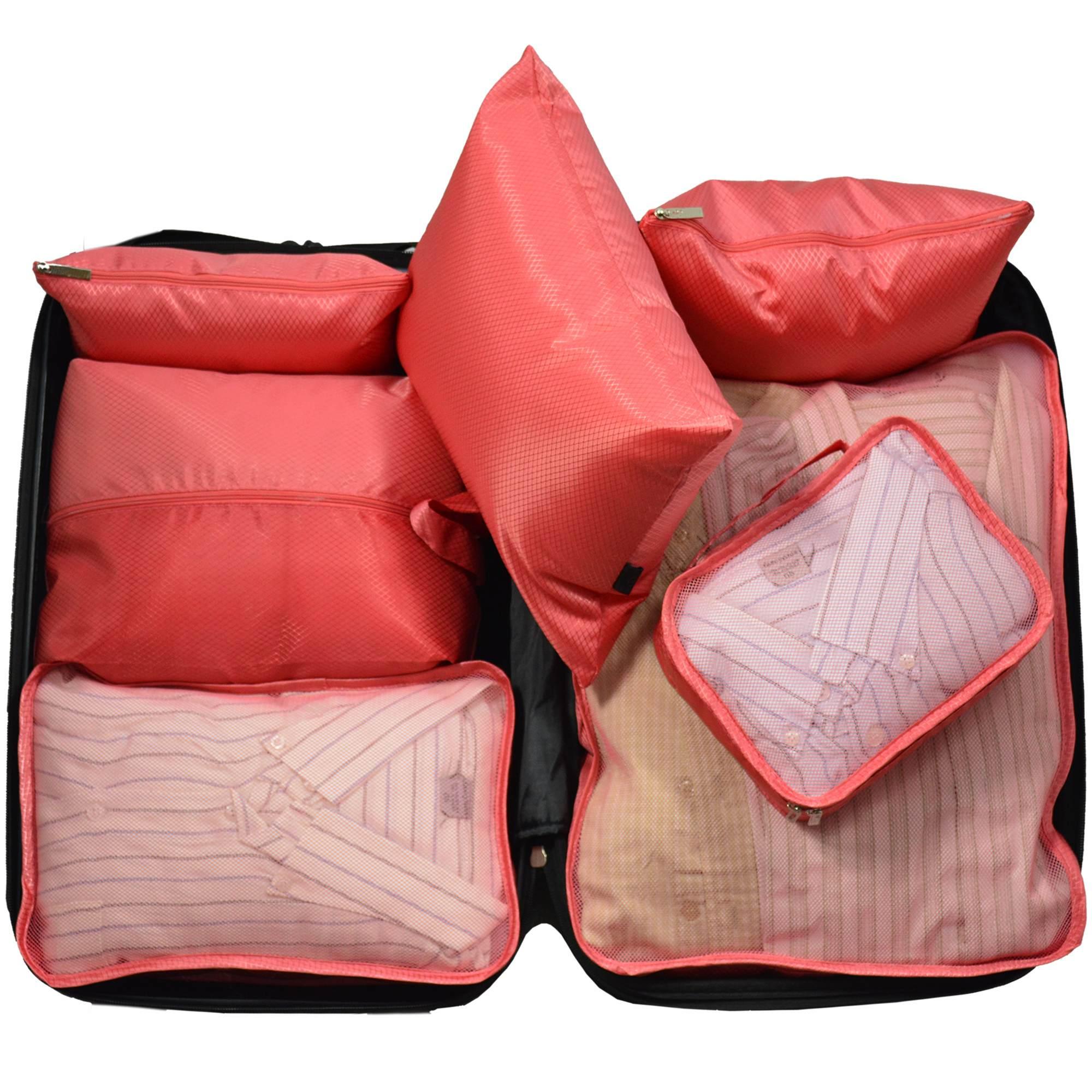 Organizador de Mala Viagem Necessaire Kit 7 Peças Rosa CBRN113692