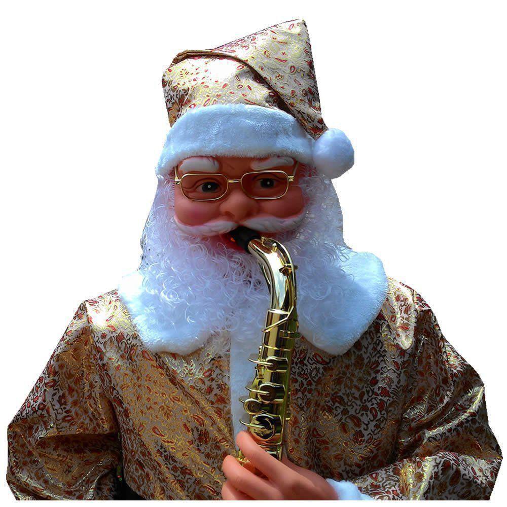 Papai Noel Animado Dança Toca Sax 1,80m Bi-volt Dourado CBRN0630 CD1498