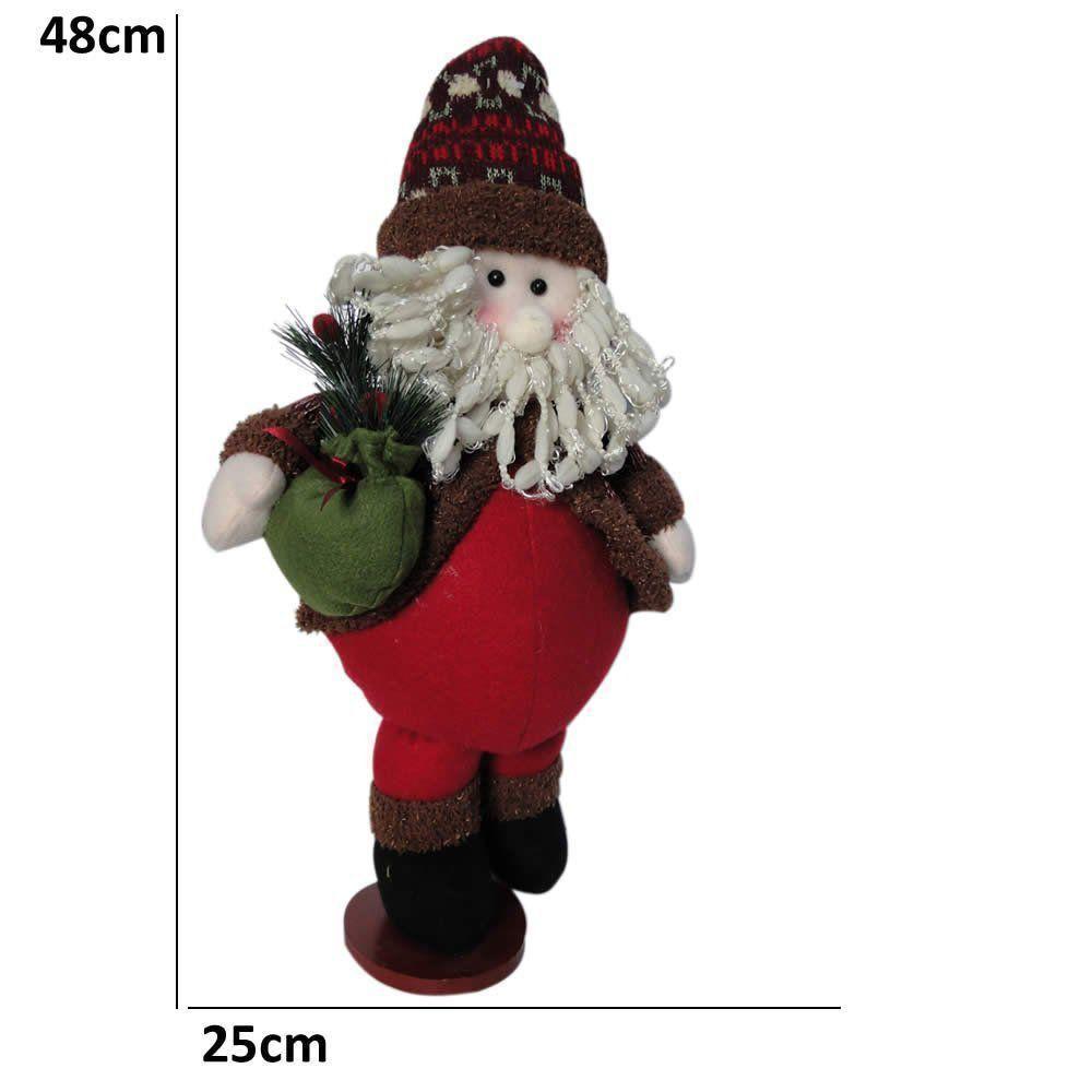 Papai Noel de Luxo em Pelúcia com 48cm de Altura CBRN0388 CD0075