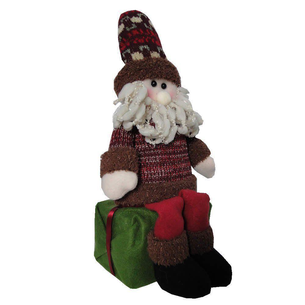 Papai Noel de Luxo em Pelúcia sentado no Presente com 35cm de Altura CBRN0425 CD0080