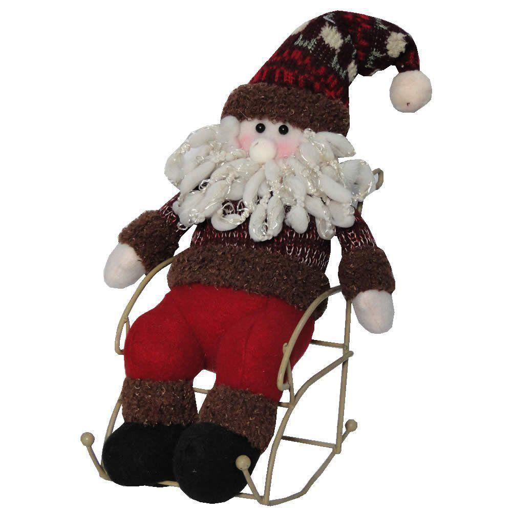 Papai Noel de Luxo Pelúcia na Cadeira de Balanço com 23cm de Altura CBRN0500