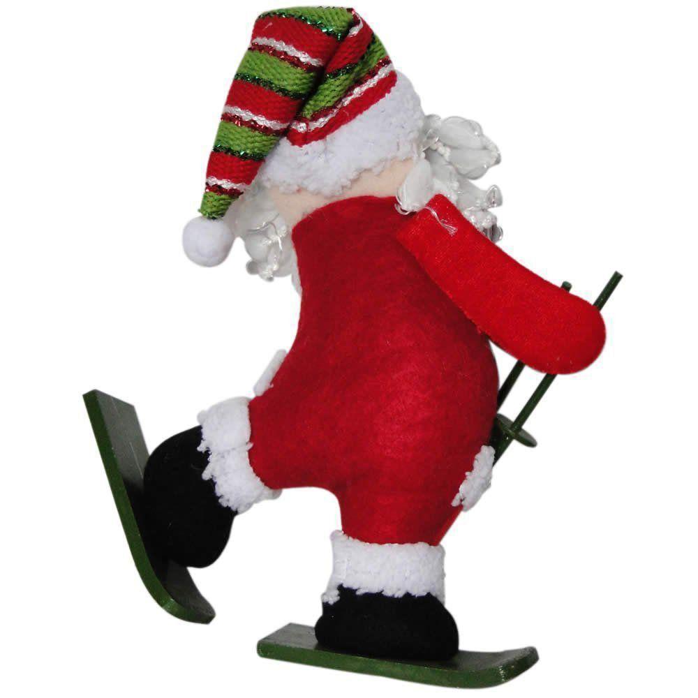 Papai Noel de Pelúcia com Esqui com 30cm de Altura CBRN0326 CD0047
