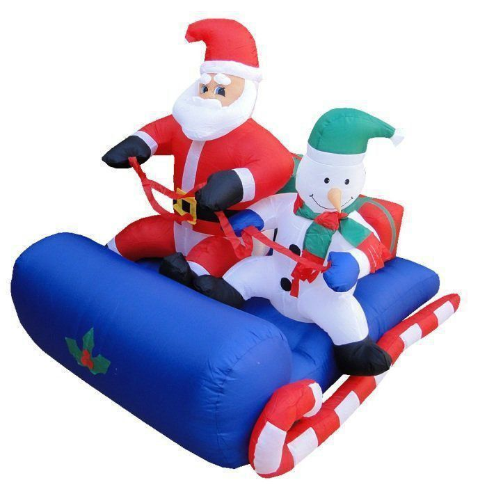 Papai Noel e Boneco de Neve no Trenó PW111 Inflável Iluminado