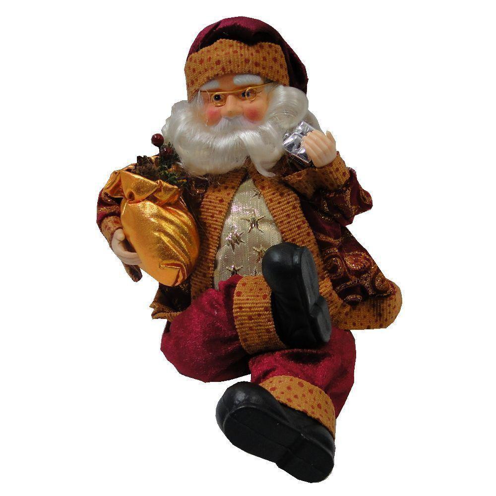 Papai Noel Luxo em Tecido com Saco de Pinha 1431 35cm de Altura