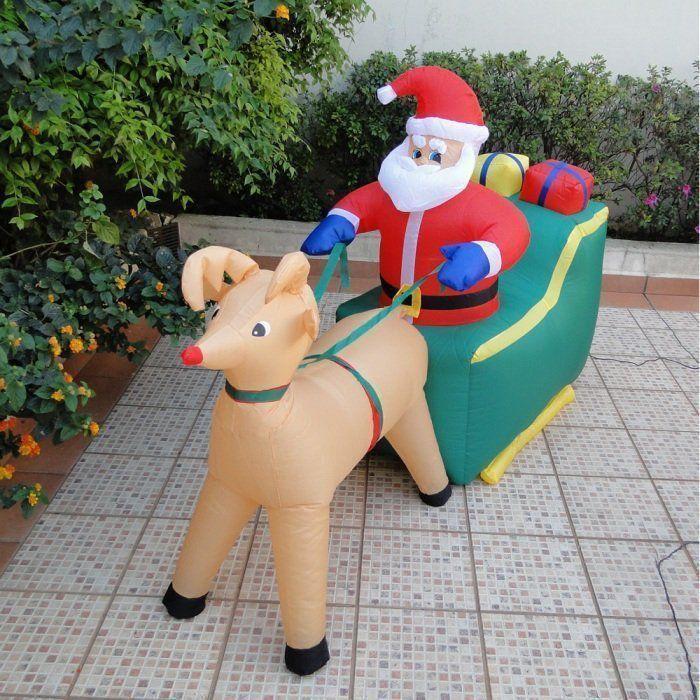 Papai Noel no Trenó com Rena PW108 Inflável Iluminado 127v