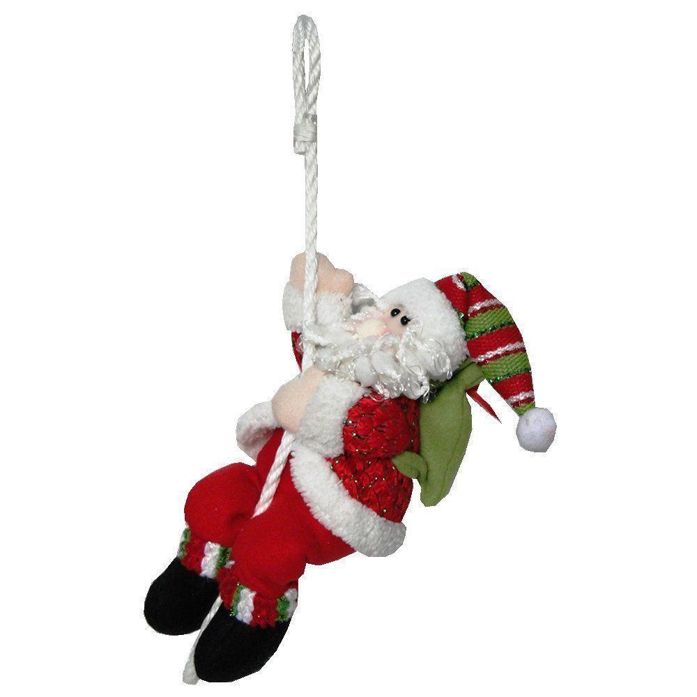 Papai Noel Pelúcia na Corda 30cm de Altura com Saco Presente Verde CBRN0265 CD0029