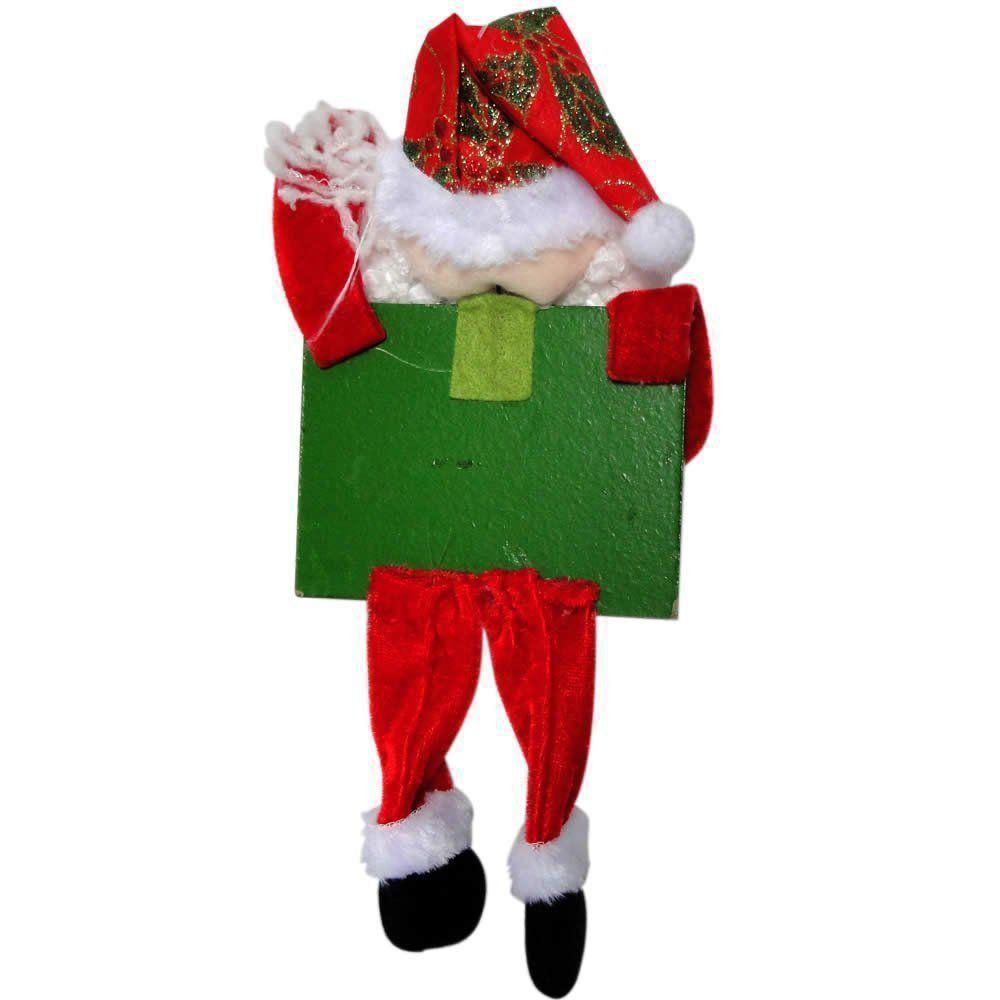 Papai Noel Placa Feliz Natal com 12cm de Largura CBRN0364 CD0067