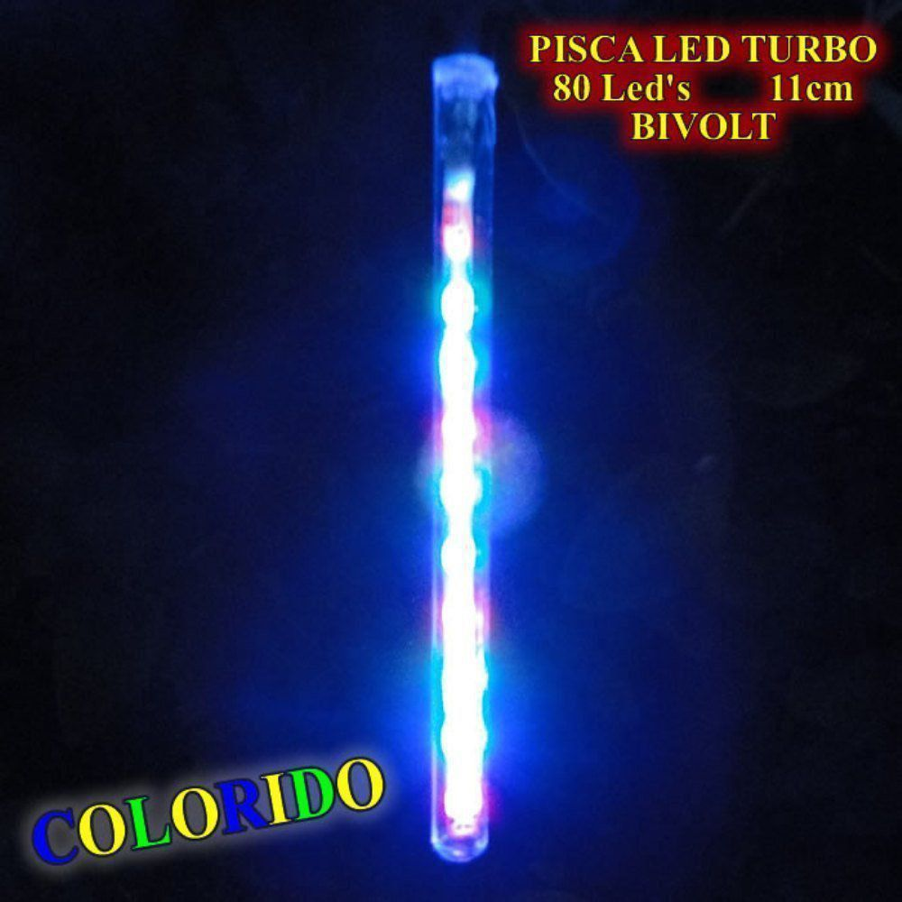 Pisca Led Turbo Snow Fall Colorido com 8 Tubos de 11cm Bi-volt 1341