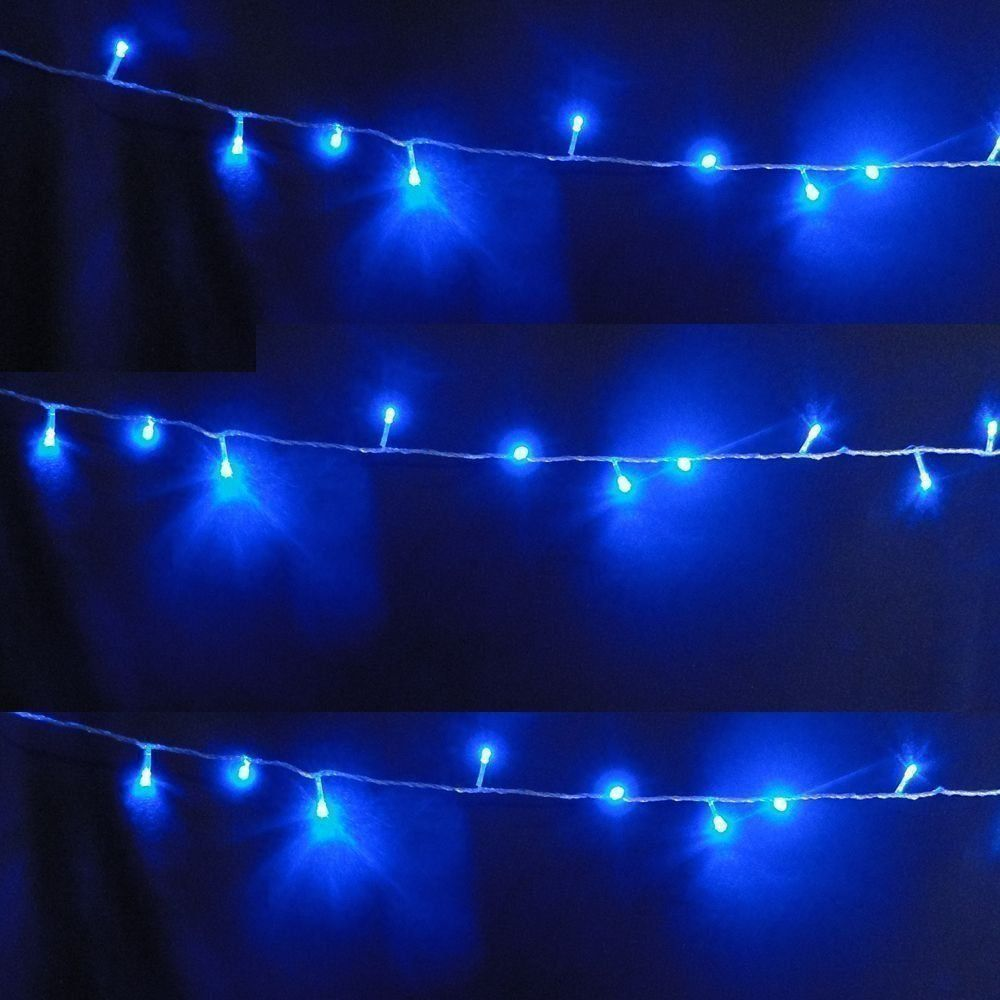 Pisca Pisca 100 LEDs 10m Azul 220V 4 Fases Fio Transparente CBRN05123