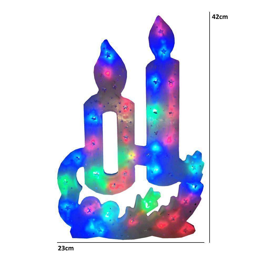 Pisca Pisca Vela 35 Leds 110VOLTS RGB Colorido 42cm de Altura CBRN0661
