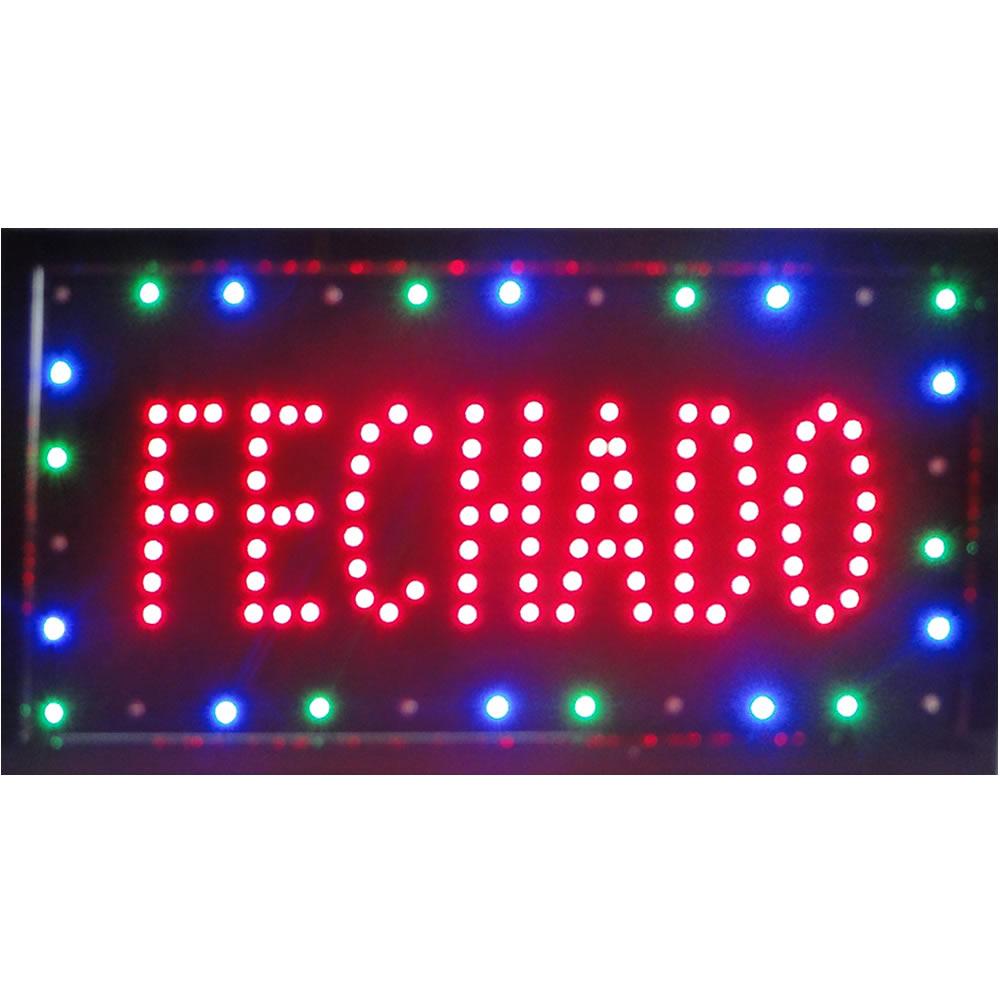 Placa Led Quadro Letreiro Luminoso Decorativo Fechado