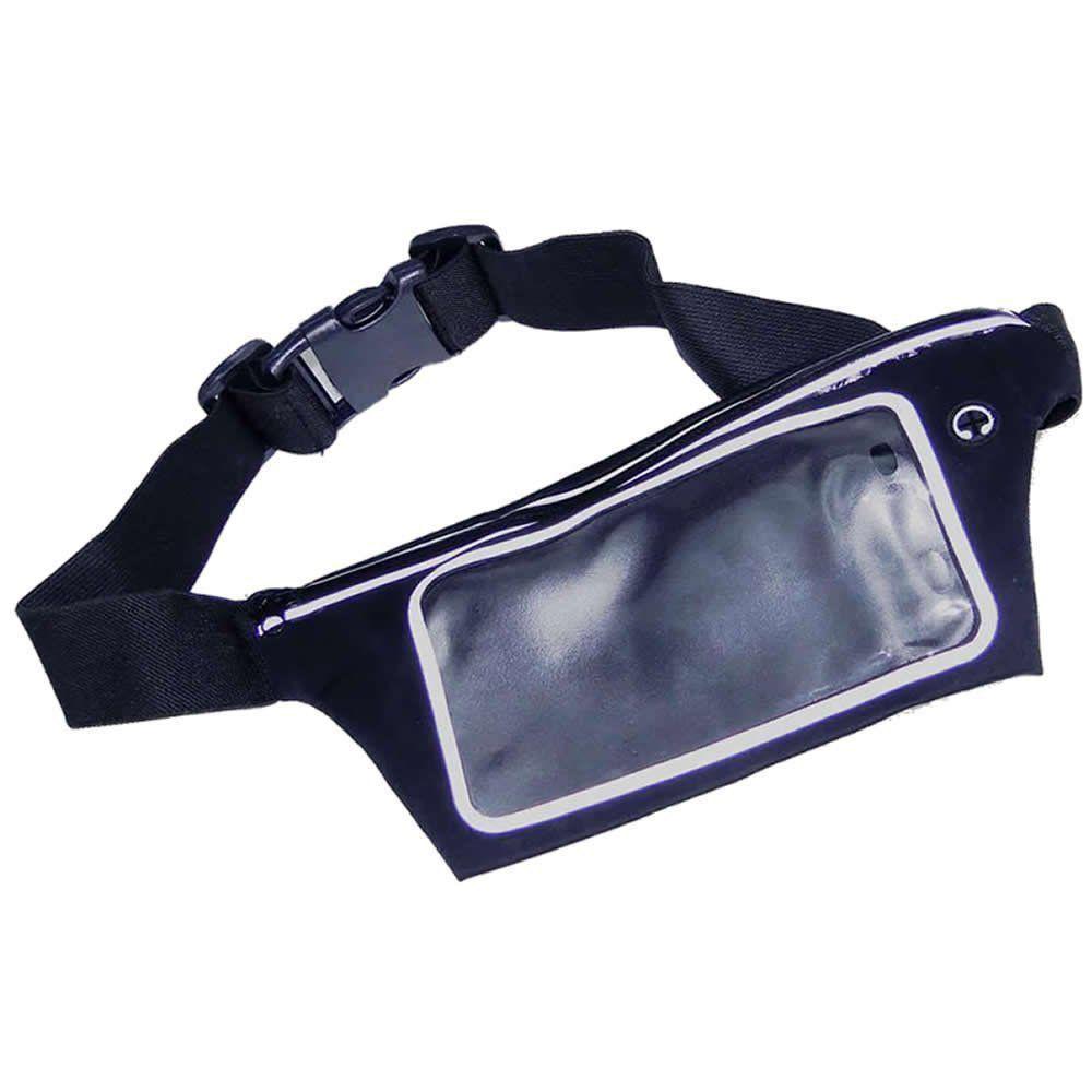 Pochete cinto porta celular fitness Corrida até 5.5 Pol Impermeável PRETO CBRN02078