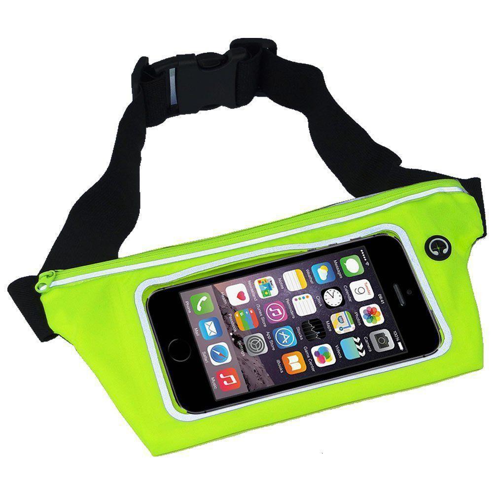 Pochete cinto porta celular fitness Corrida até 5.5 Pol Impermeável VERDE CLARO CBRN02030
