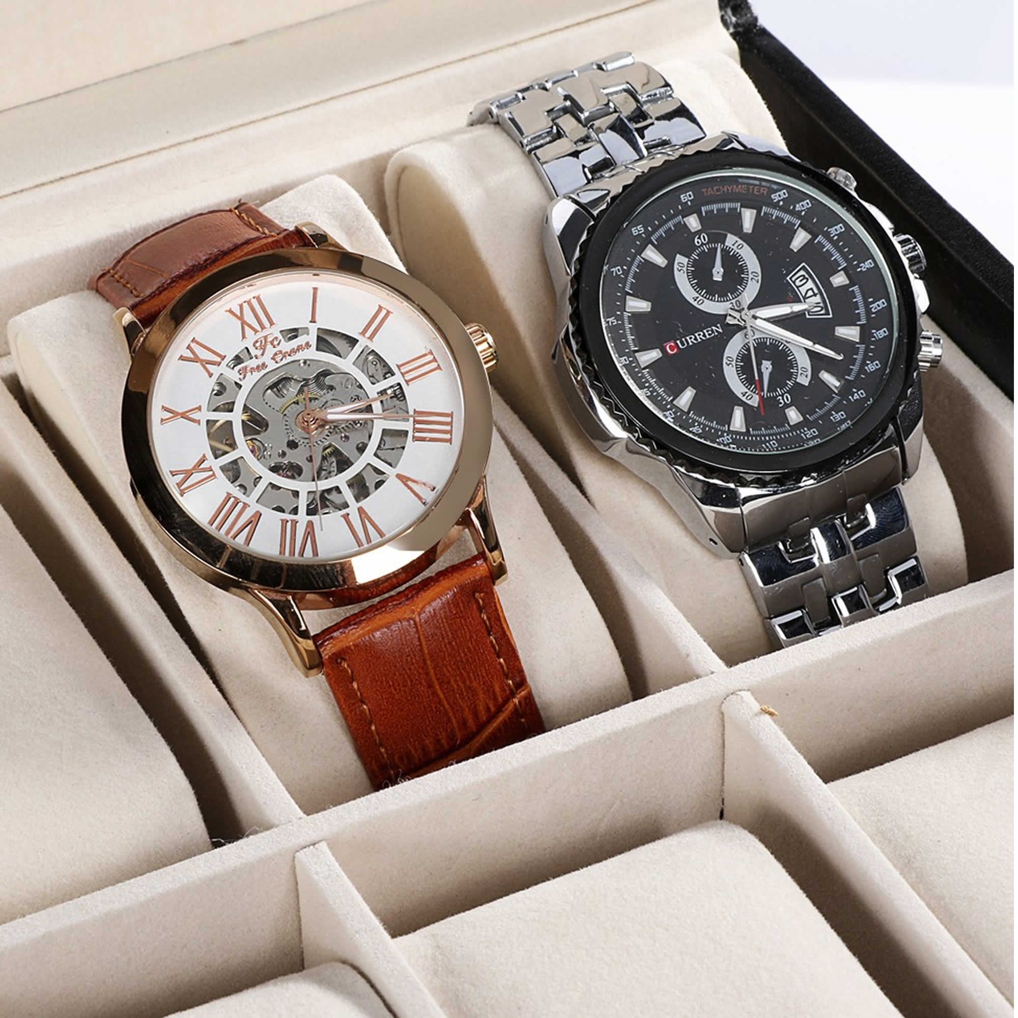 Porta Relógios Caixa Estojo Para 20 Relógios Luxo CBRN10479