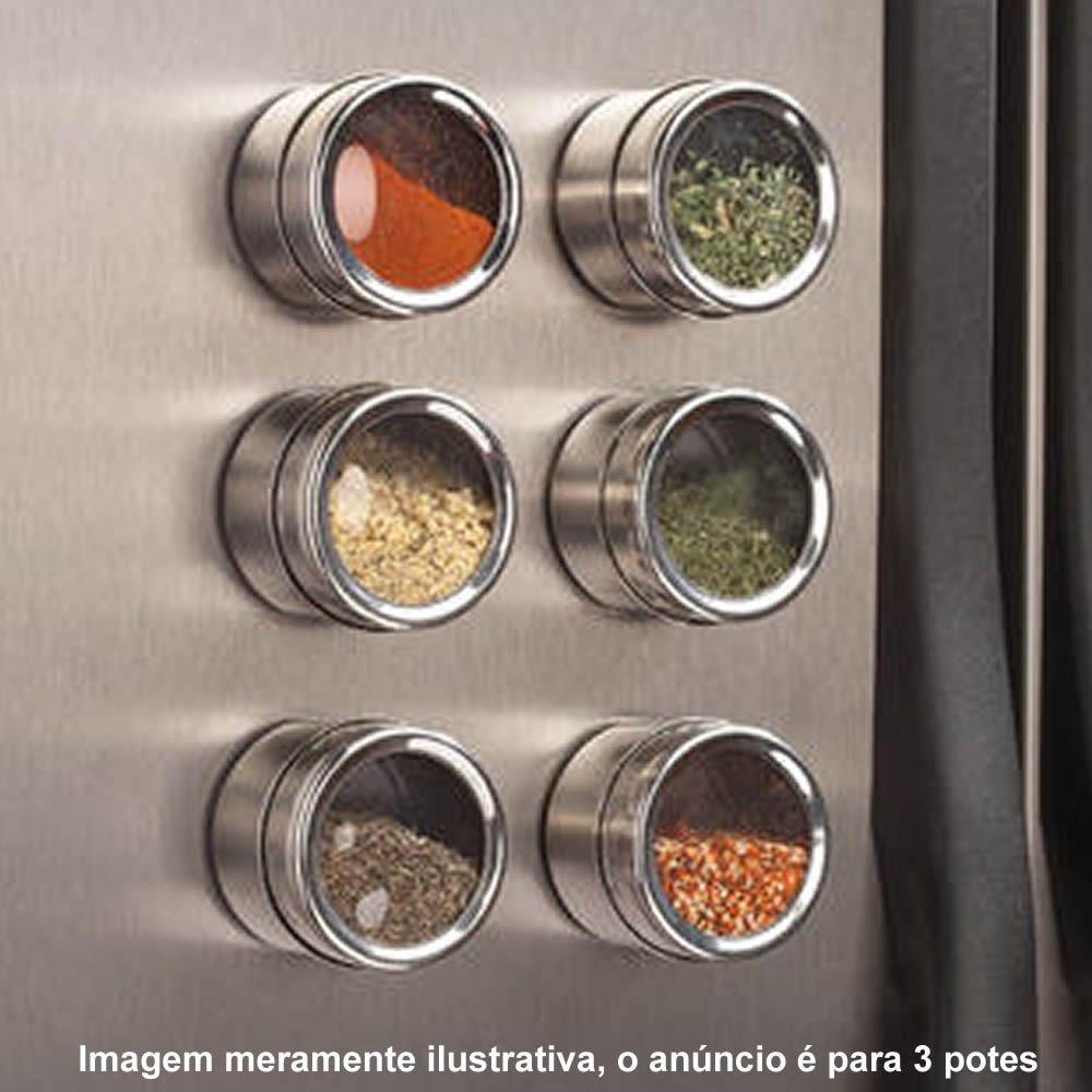 Porta Temperos Condimentos Aço Inox Magnético 3 Potes CBRN12398