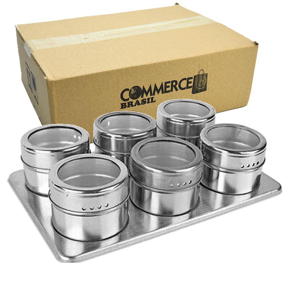 Porta Temperos Condimentos Aço Inox Magnético 6 Potes Retângulo CBRN12404