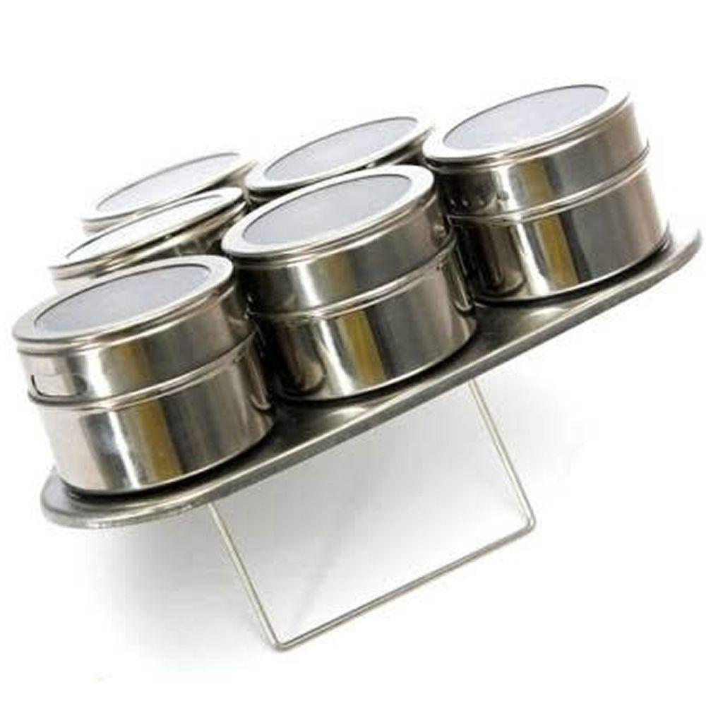 Porta Temperos Condimentos Aço Inox Magnético 6 Potes Triângulo CBRN12411