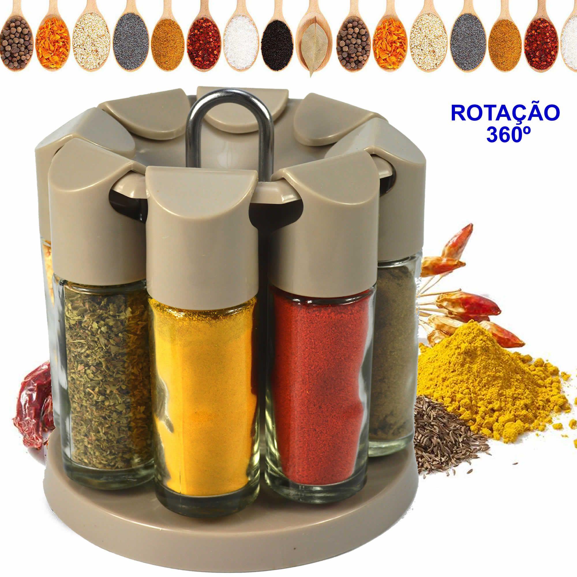 Porta Temperos Condimentos Giratório 8 Potes de Vidro CBRN12381