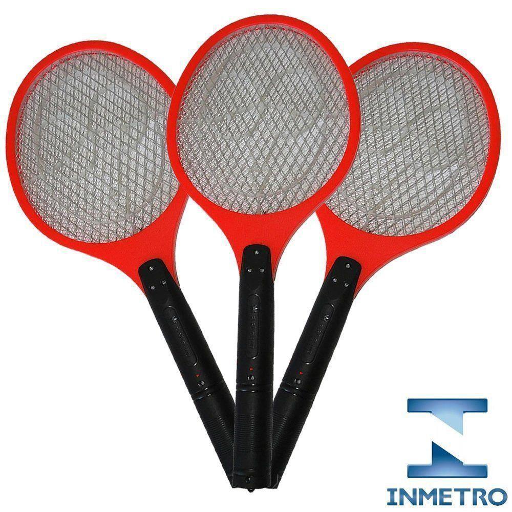 Raquete elétrica mata mosquito kit 3 peças Vermelho CBRN05604