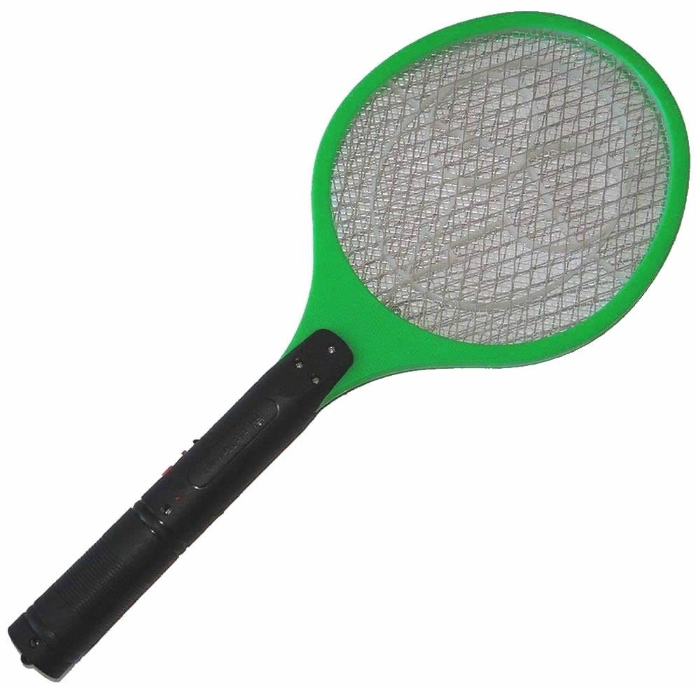 Raquete Mata Mosquito, Mosca e Inseto Elétrica Recarregável Bi-volt Verde CBRN0784