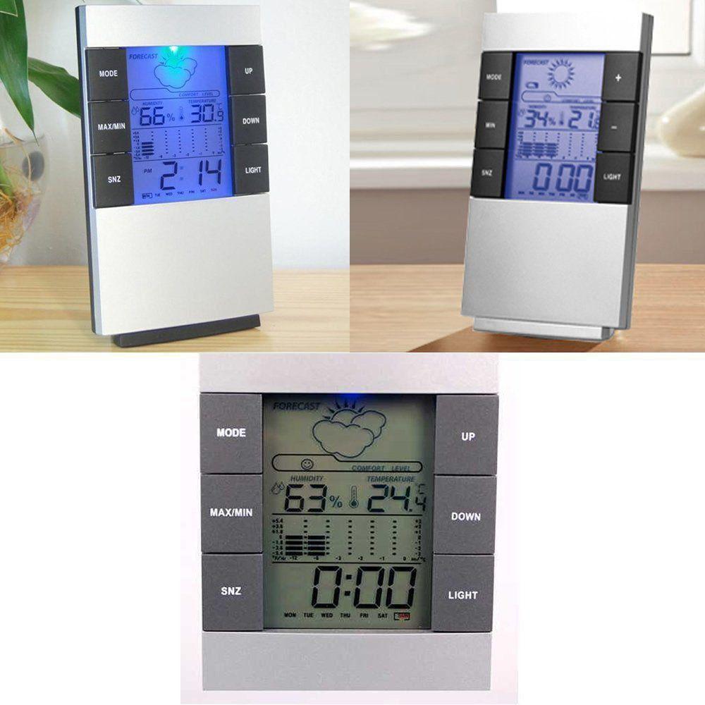 Relógio de Mesa Digital Despertador Previsão Tempo e Temperatura CBRN01149
