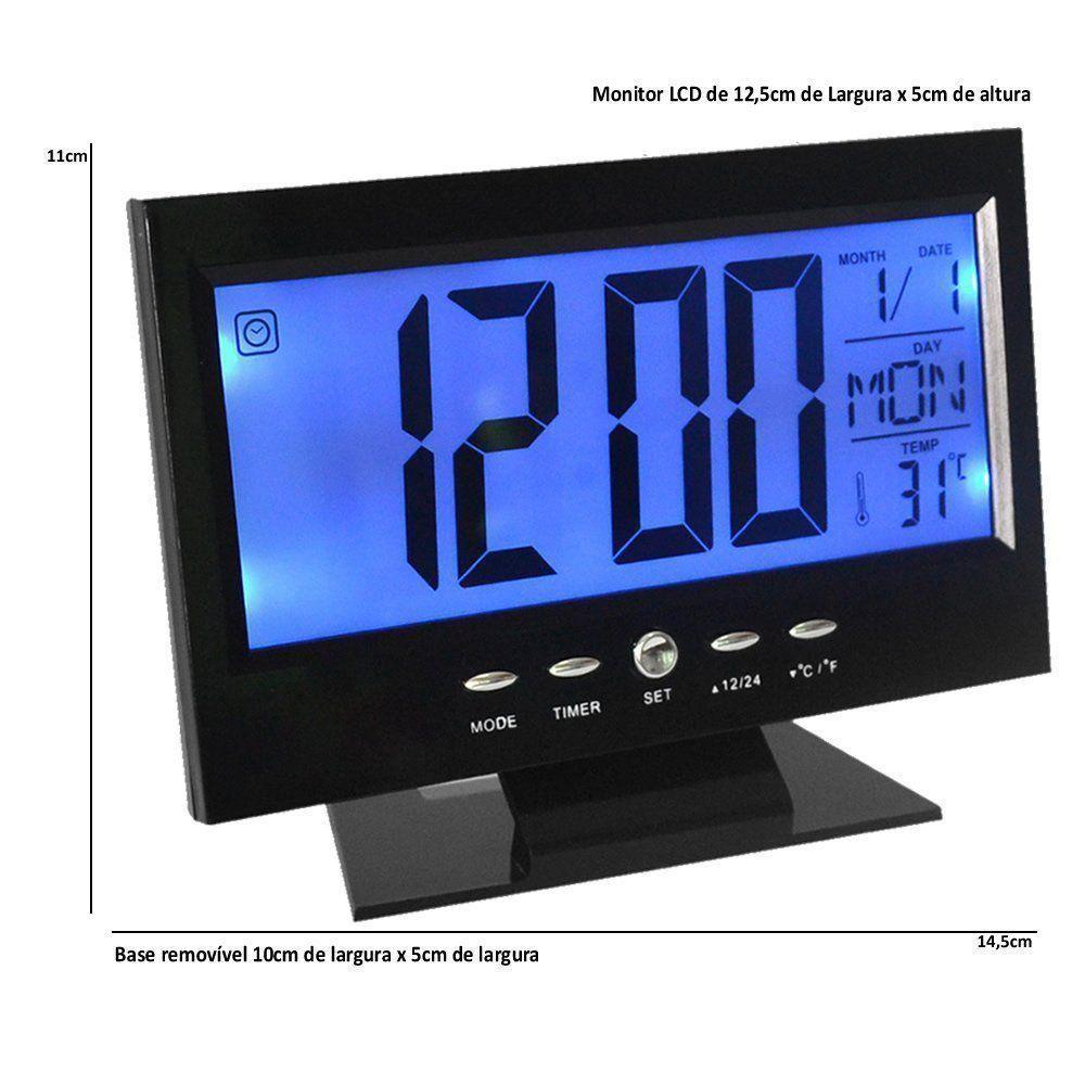 Relógio de mesa digital lcd led acionamento sonoro despertador termometro PRETO CBRN01422