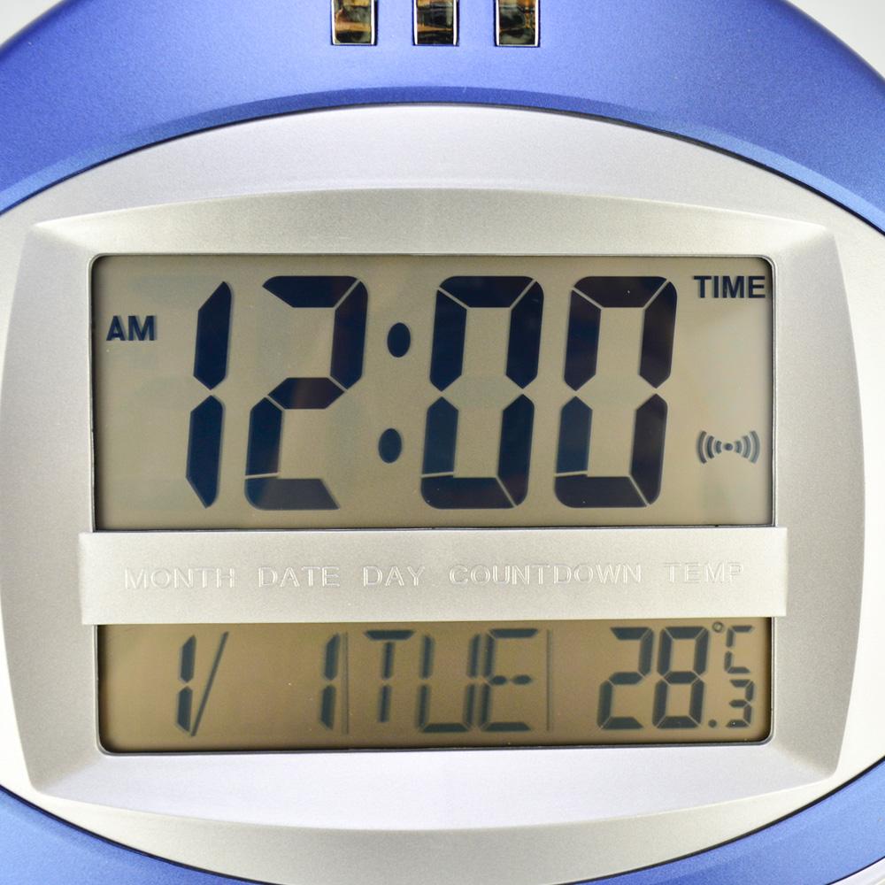 Relógio de Parede Alarme Termômetro Azul 26 cm CBRN15351