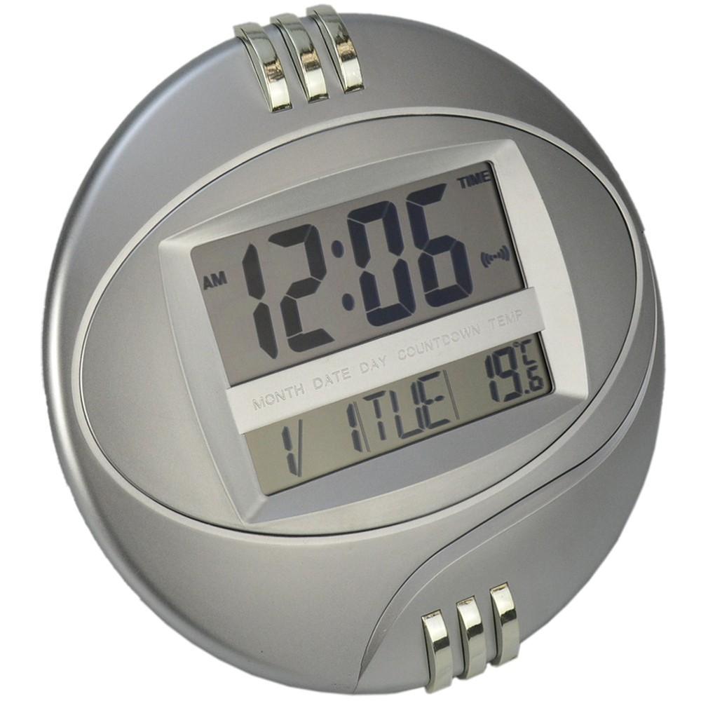 Relógio de Parede com Alarme Termômetro Prata CBRN14149