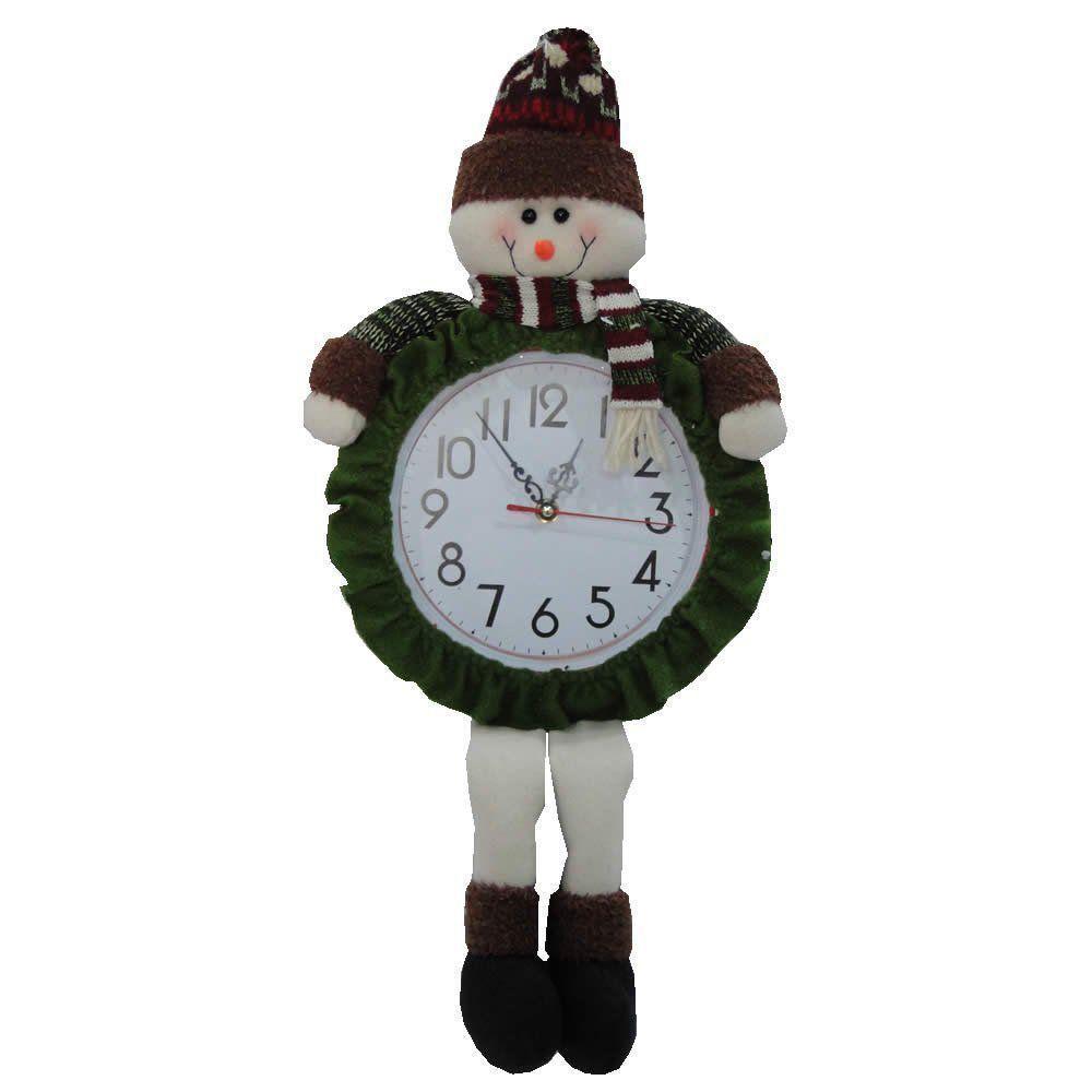 Relógio de Parede com Boneco de Neve Pelúcia de Luxo com 60cm de Altura CBRN0432 CD0082