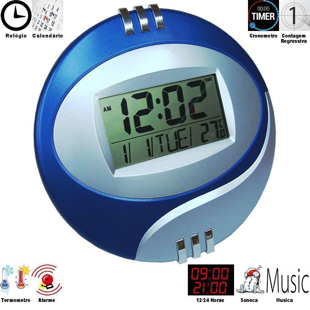 Relogio de parede com alarme termometro AZUL CBRN01293