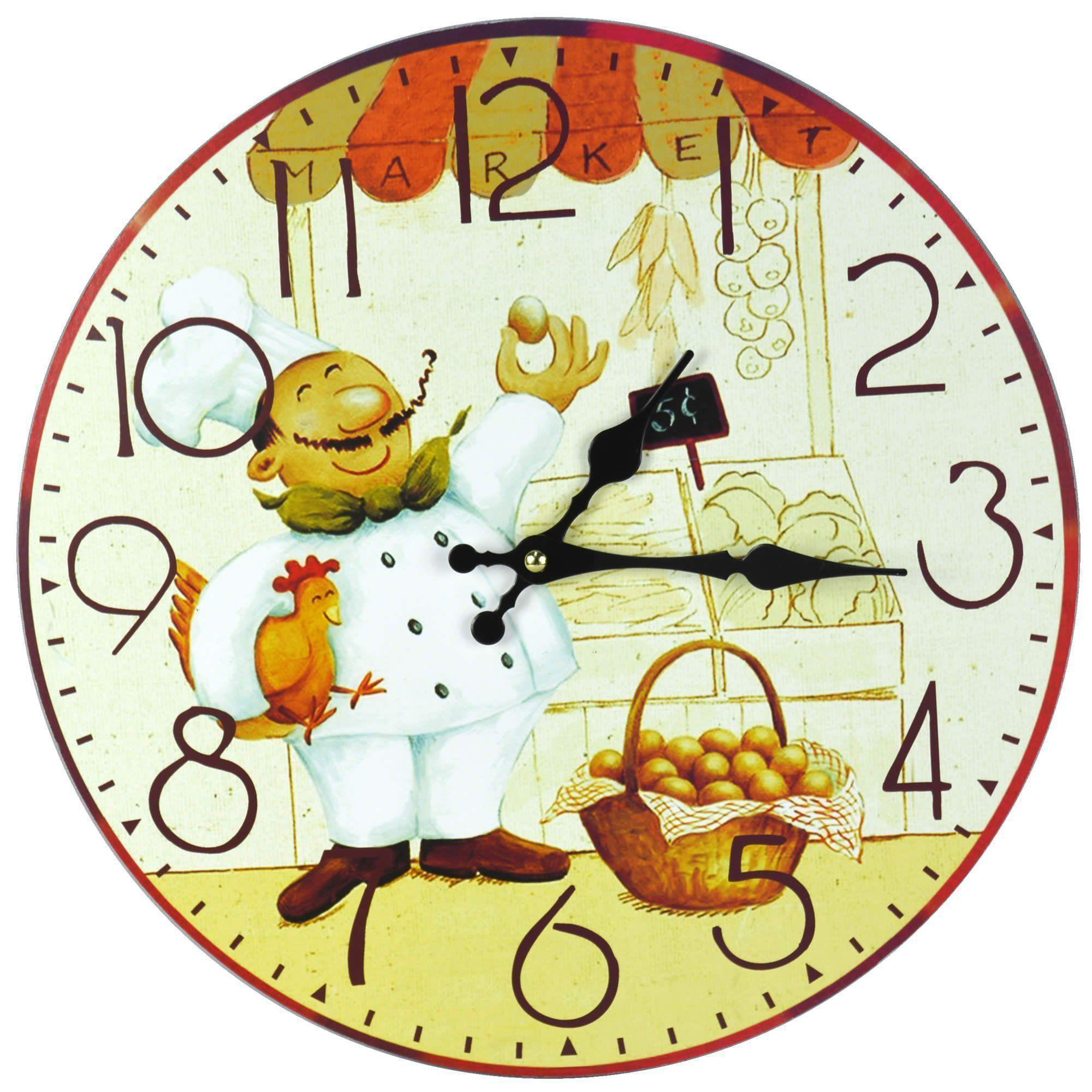 Relógio de Parede Estilo Rústico Cozinheiro CBRN07080