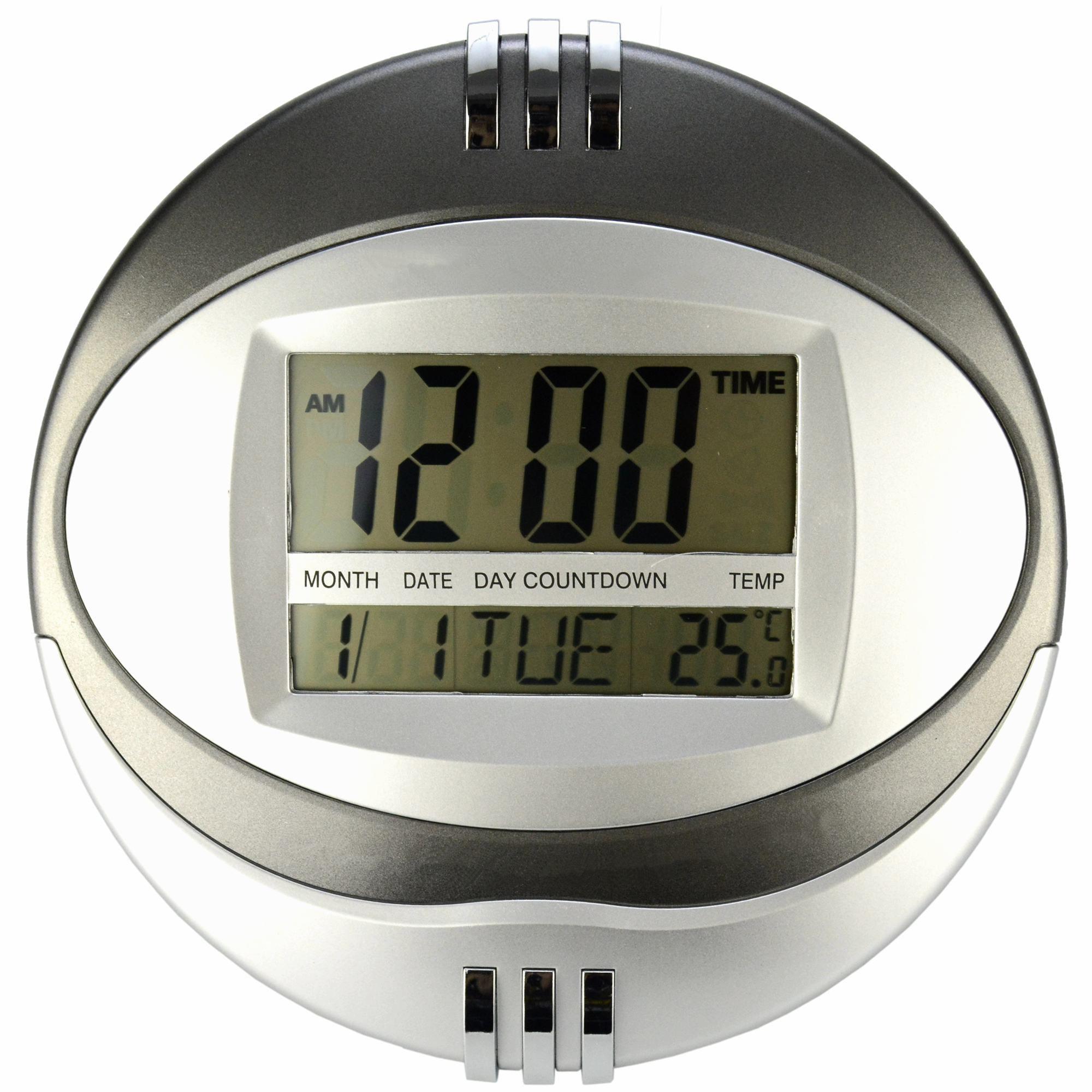 Relógio de Parede Mesa Redondo Digital Cinza CBRN11605