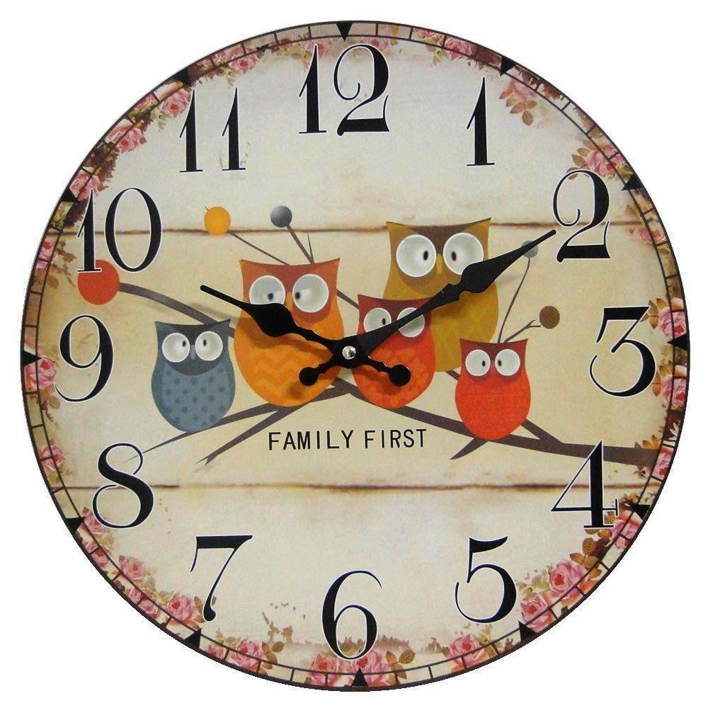 Relógio de Parede Retro Rústico CORUJAS CBRN01903