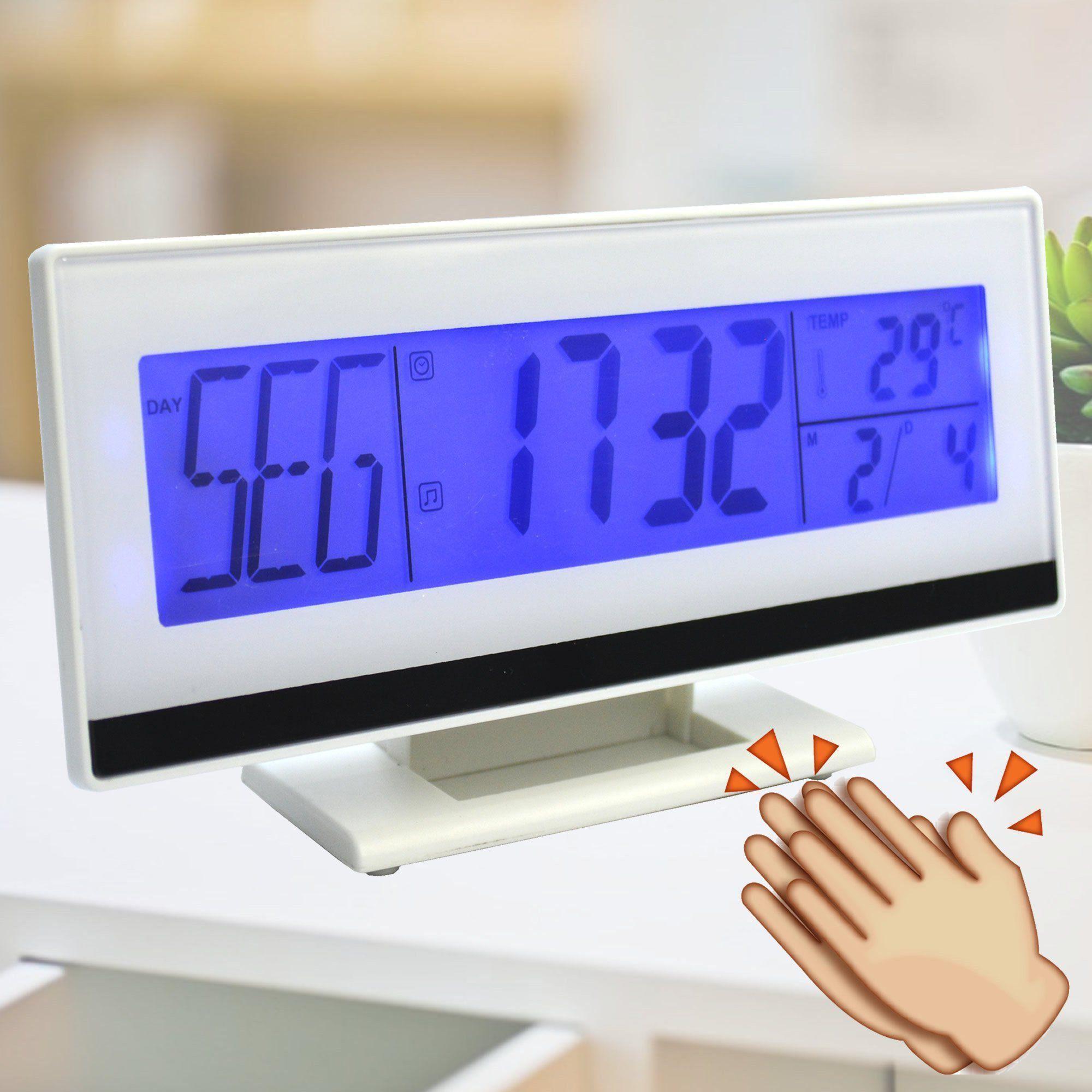 Relógio Digital de Mesa Acionamento Sonoro Branco CBRN07189