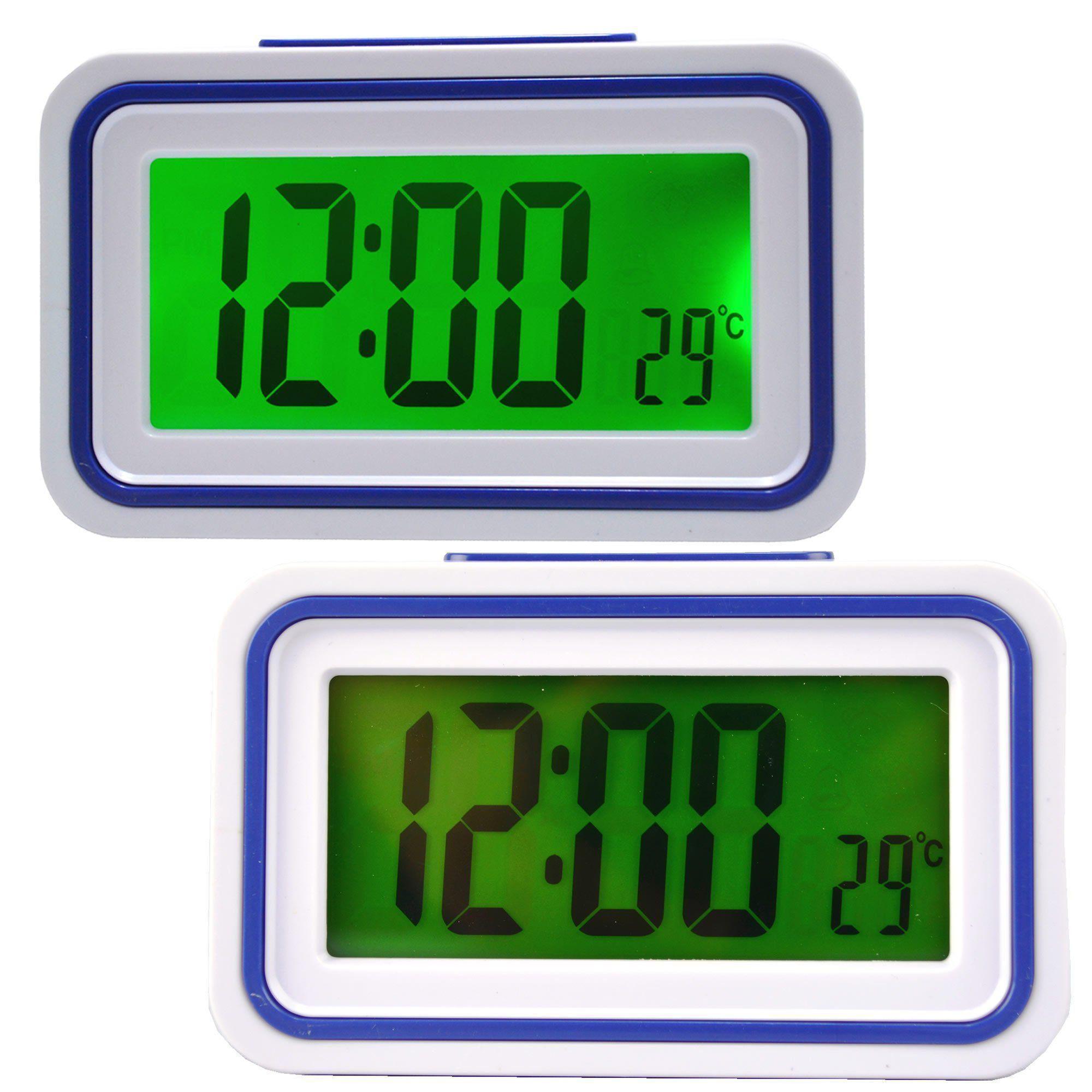 Relógio Digital LCD Fala Hora Em Português Azul CBRN09060