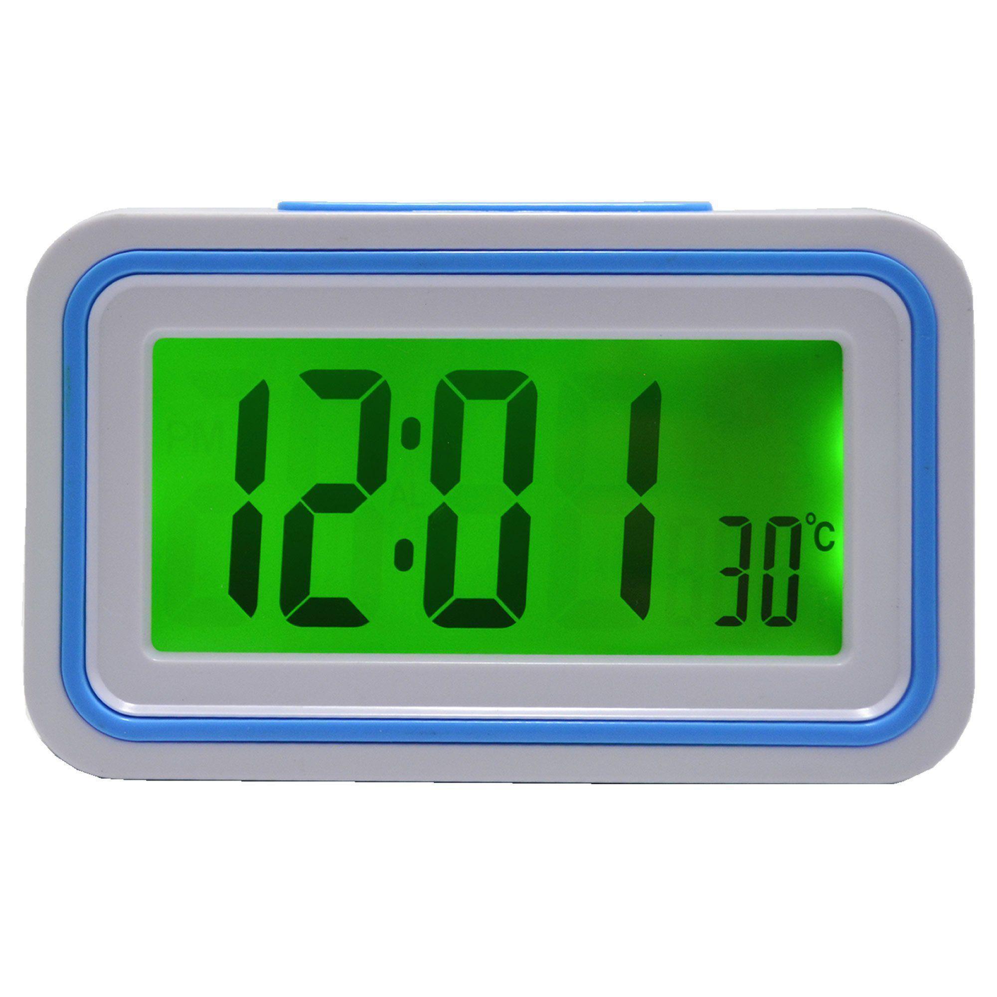 Relógio Digital LCD Fala Hora Em Português Azul Claro CBRN09077