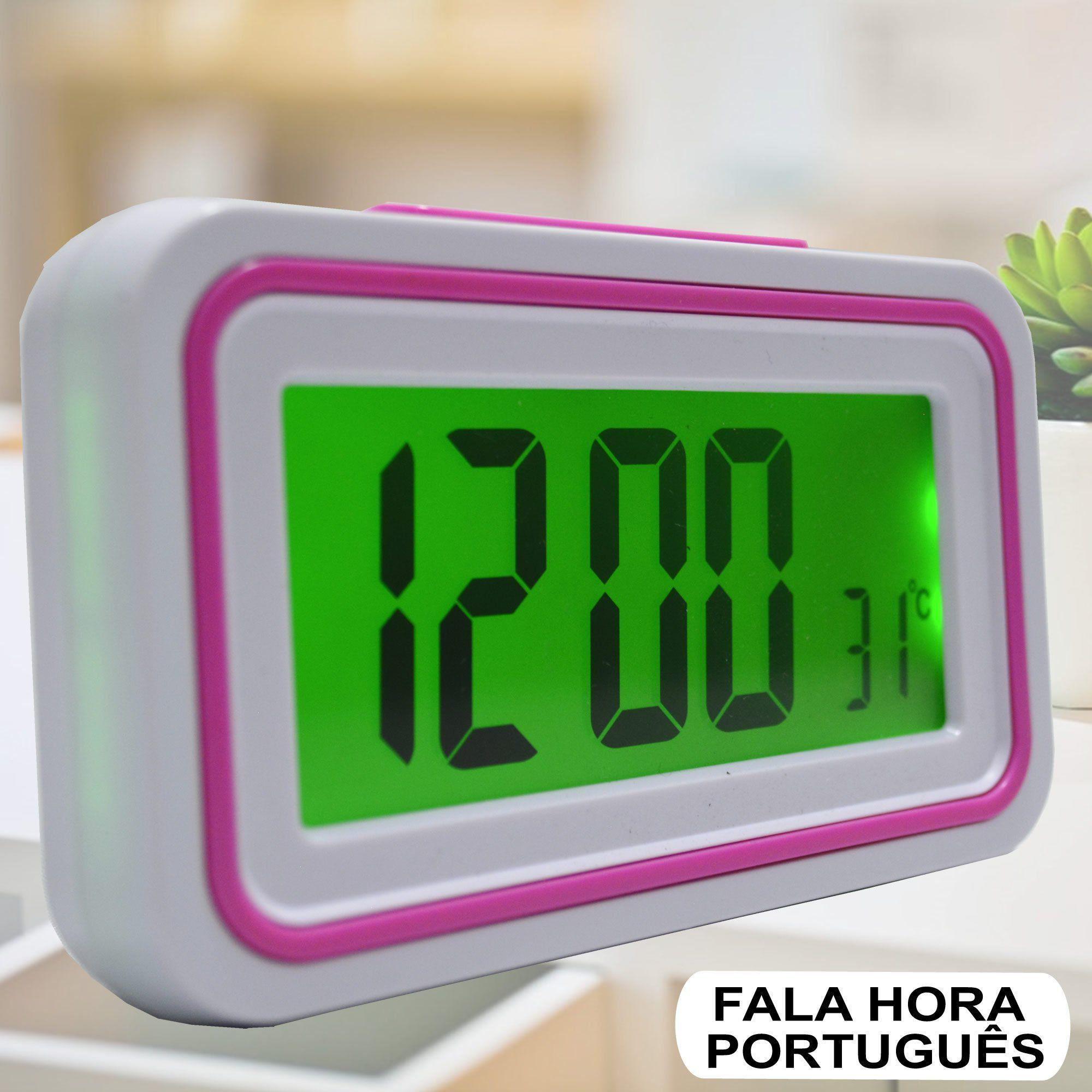 Relógio Digital LCD Fala Hora Em Português Pink CBRN09084