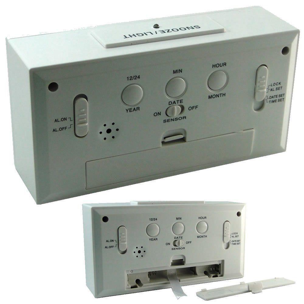 Relógio Digital sensor luz BRANCO CBRN01590