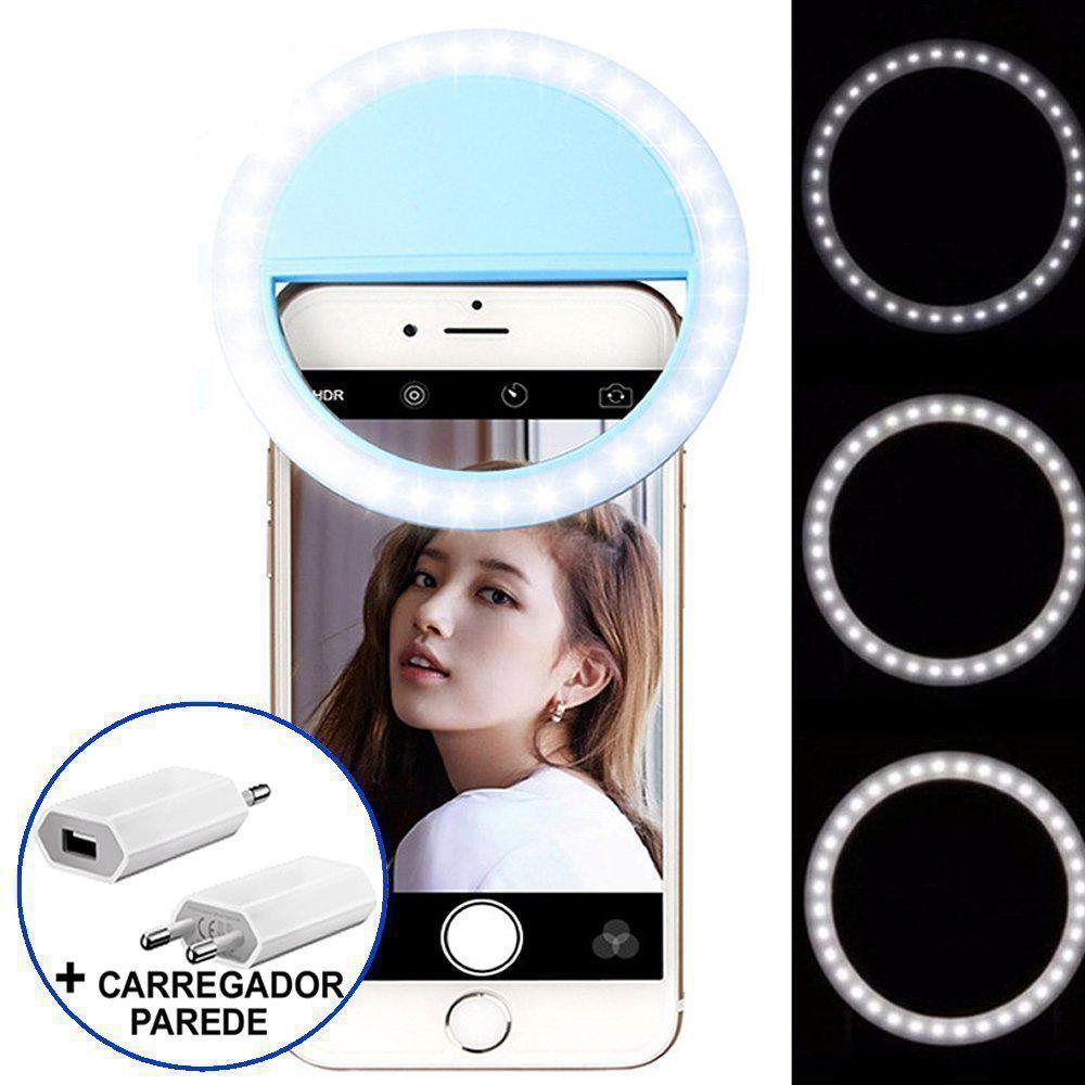 Ring Light Luz de Selfie Para Celular + carregador Azul CBRN08650