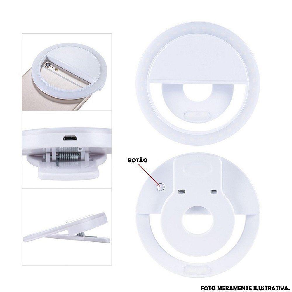 Ring Light Luz de Selfie Para Celular + carregador Preto CBRN08674