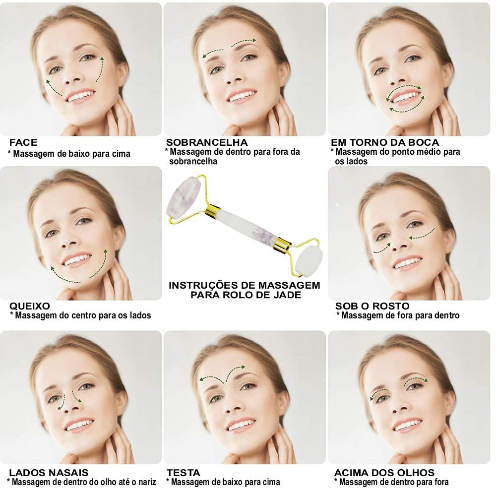 Rolo Massageador Facial Anti Estresse Quartzo Branco + Suporte Celular CBRN15634