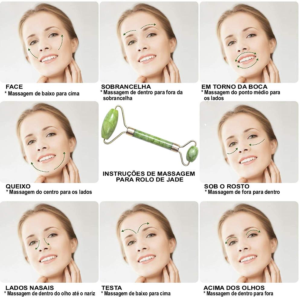 Rolo Massageador Facial Anti Estresse Quartzo Verde + Suporte Celular CBRN15665