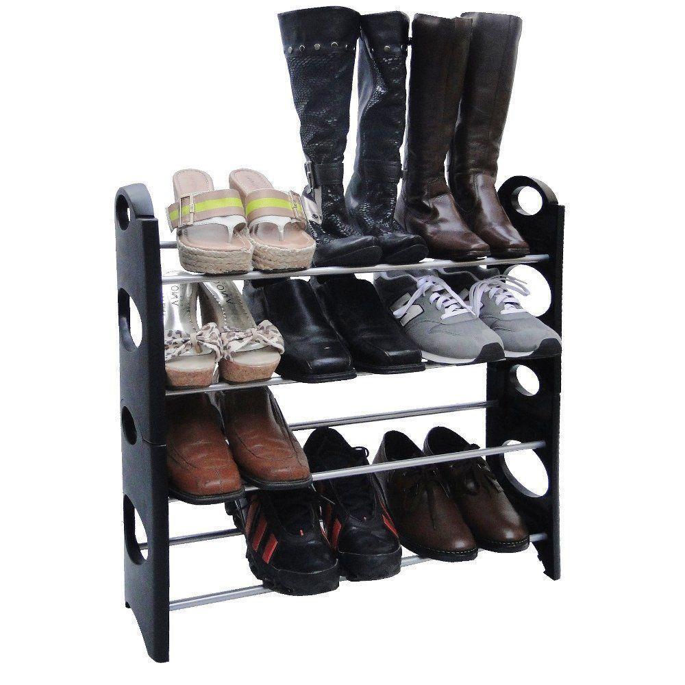 Sapateira Desmontável de PVC Preto Shoe Rack para 12 pares de sapatos CBR01104