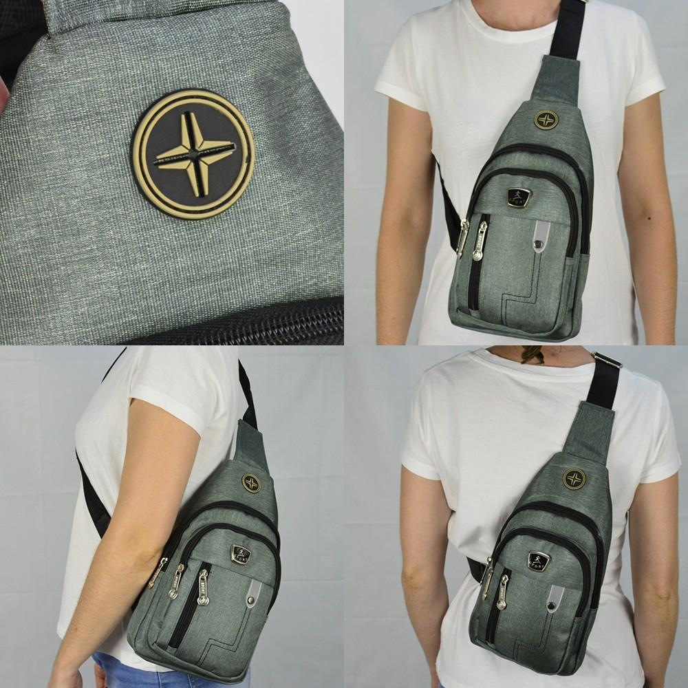 Shoulder Bag Mochila Transversal Bolsa Unisex Cinza 03 CBRN12299