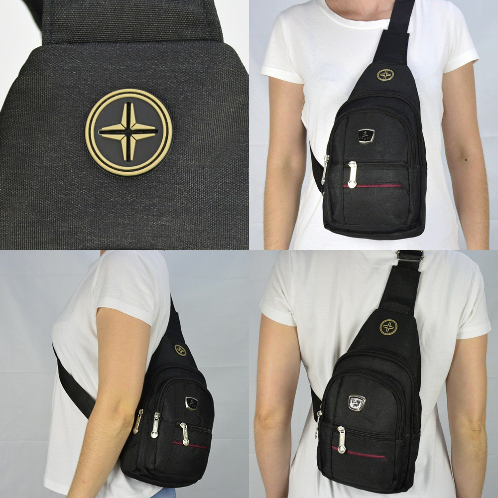 Shoulder Bag Mochila Transversal Bolsa Unisex Preto 02 CBRN12312