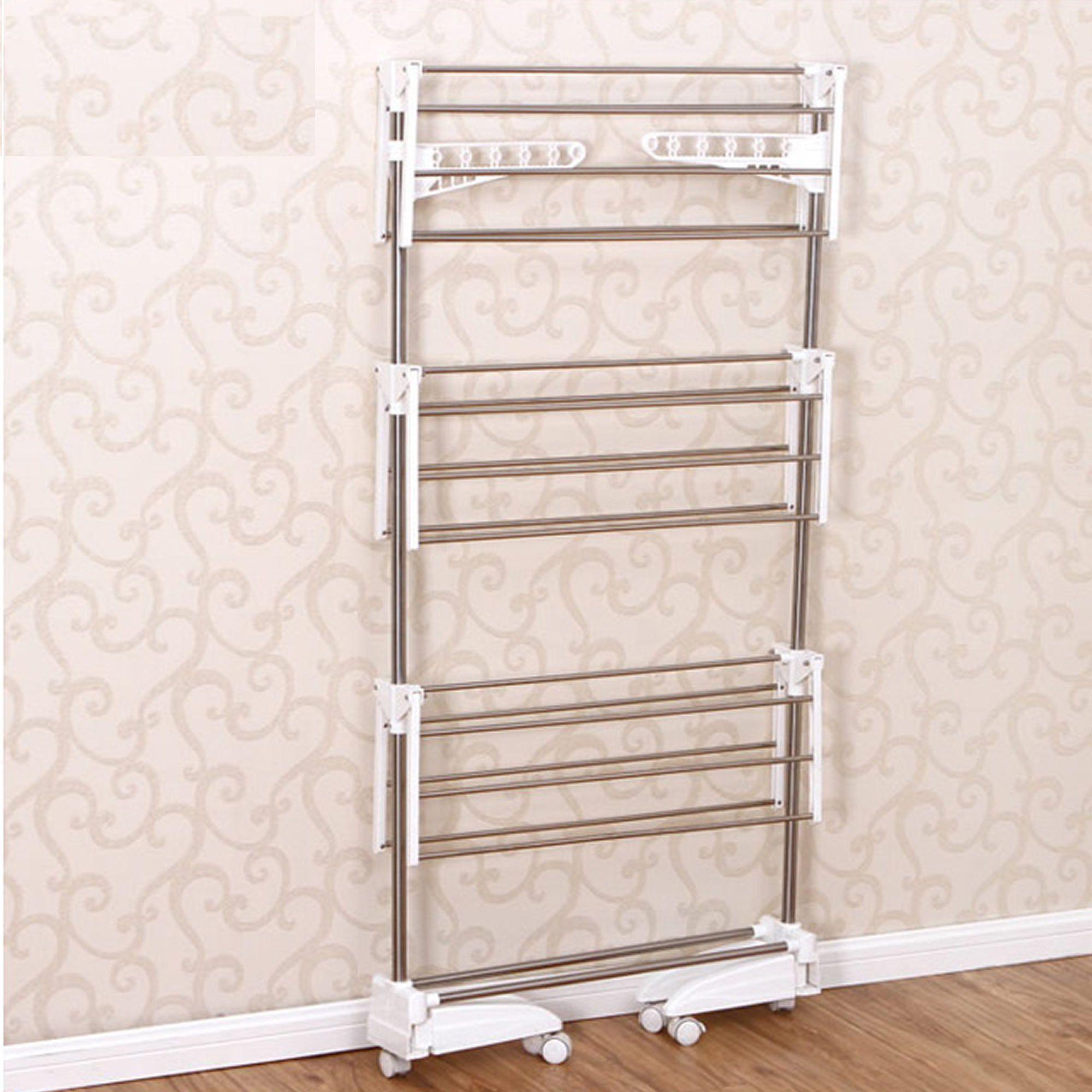 Super Varal de chão 3 andares secar roupas aço inox dobrável CBR03259
