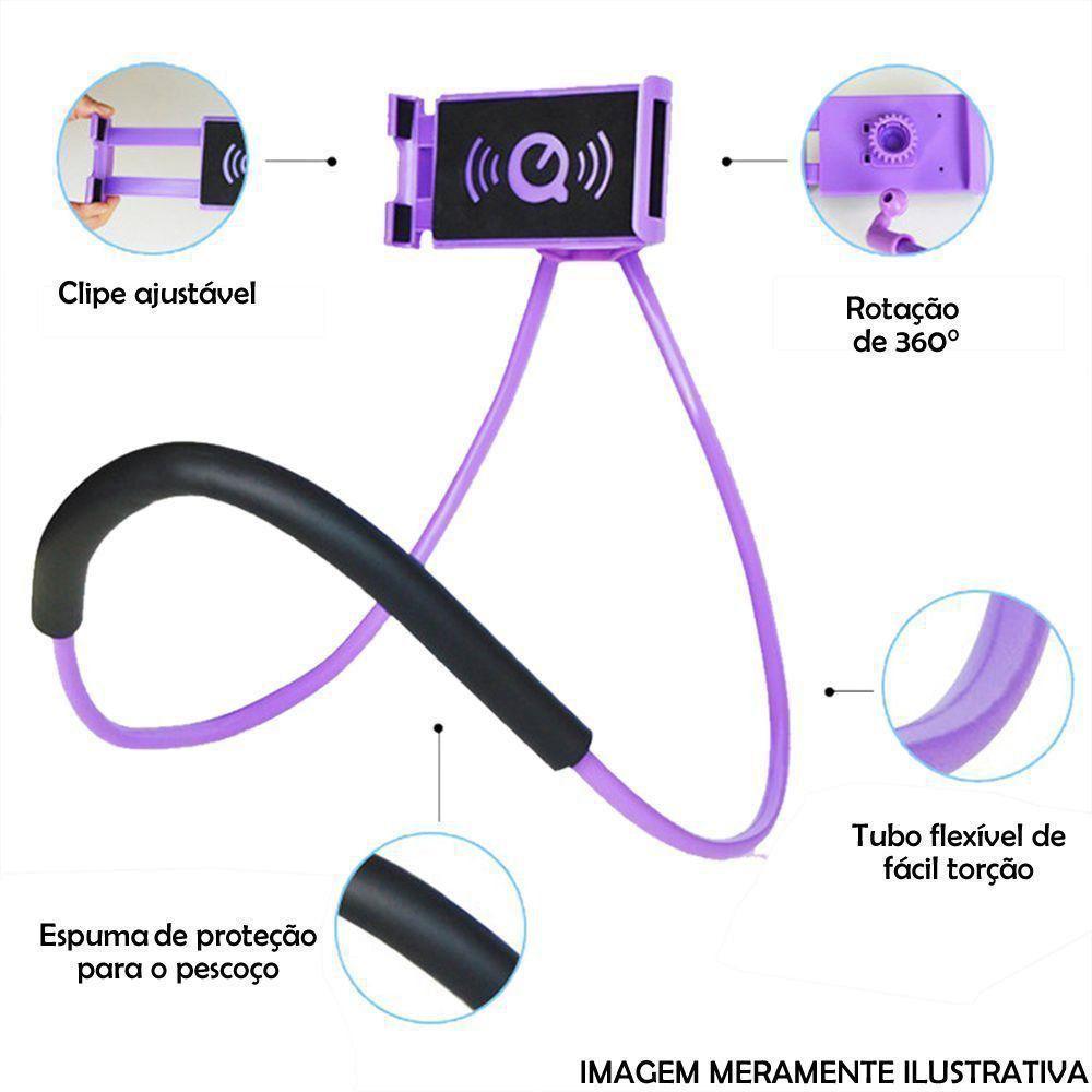 Suporte Para Celular Articulado Pescoço ROXO CBRN06472