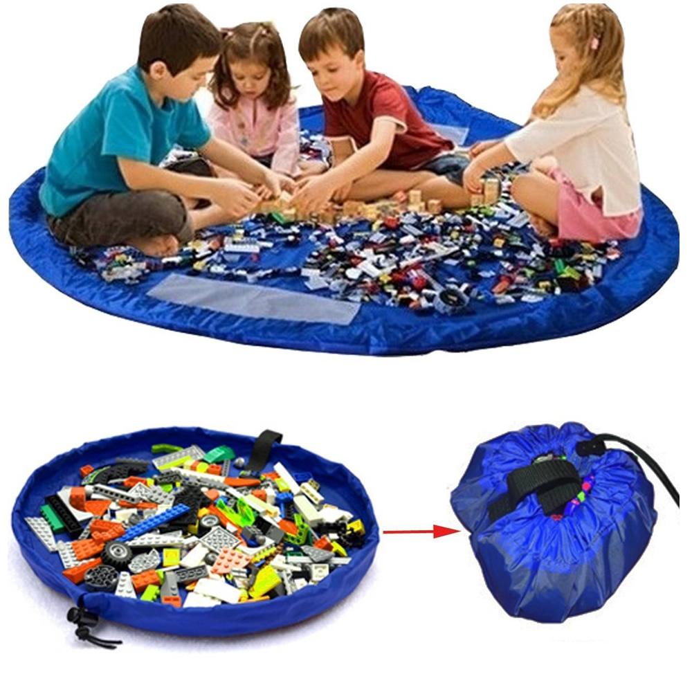 Tapete Sacola Saco Bolsa Organizador de Brinquedos Multiuso Azul CBRN13760